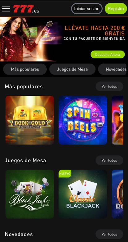 Casino777 Screenshot Inicio