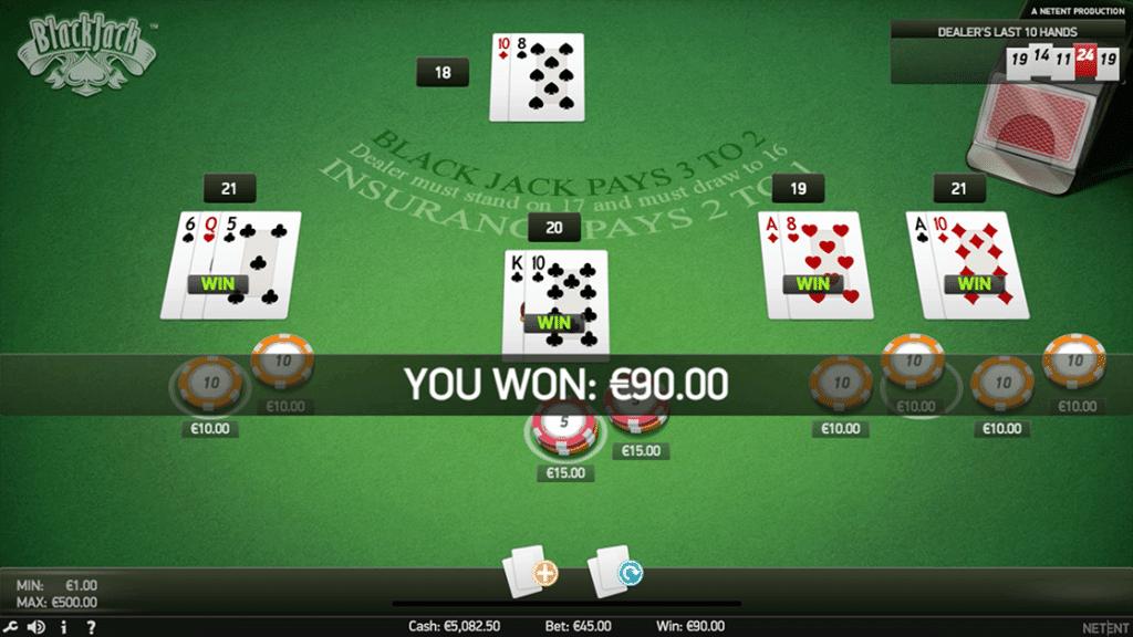Blackjack Netent captura de pantalla