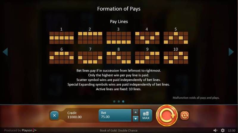 book of gold double chance playson slot 7245