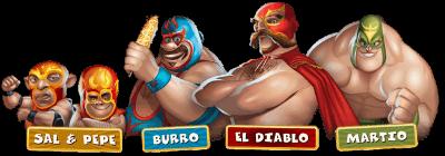 Los personajes de  Lucha Legends Tragaperras