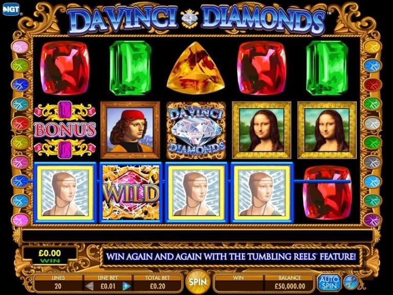 Captura de pentalla de Da Vinci Diamonds tragaperras