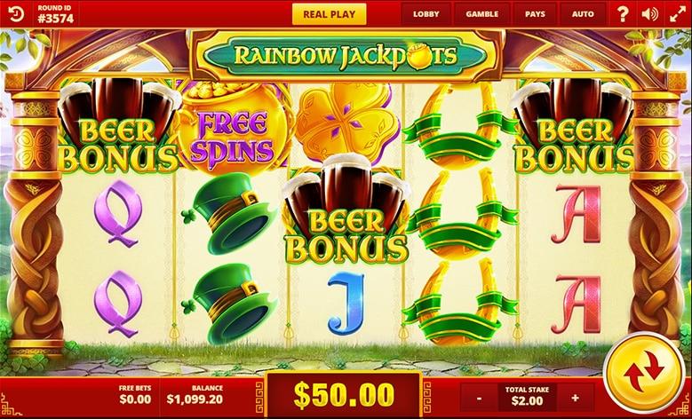Captura de pentalla de la tragaperras Rainbow Jackpots